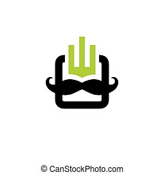 Mobile head with a mustache sign. Vector Illustration.