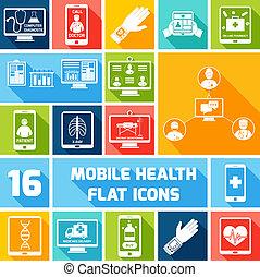 Mobile health icons set flat - Mobile health medicines ...