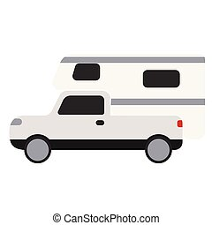 Mobile home flat illustration on white - Mobile home flat...