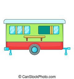 Mobile home icon, cartoon style - Mobile home icon. Cartoon...