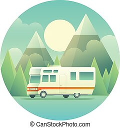 Mobile Home Illustration - Flat illustration of a RV in...