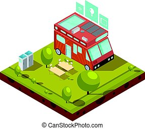 Mobile Home Isometric Composition - Mobile home isometric...