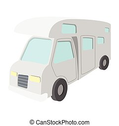 Mobile home truck cartoon icon. Recreational motor home...