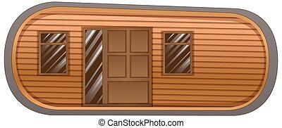 Mobile home with windows and door illustration
