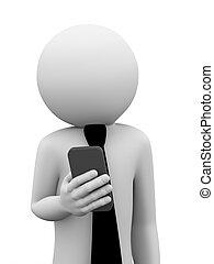 mobile, homme affaires, 3d, usages, téléphone