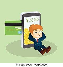 mobile, homme affaires, paiement