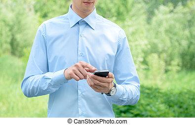 mobile, homme affaires, téléphone