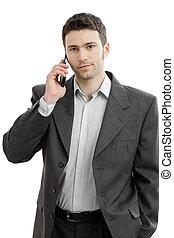mobile, homme affaires, taling, téléphone
