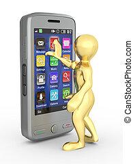 mobile, hommes, téléphone., 3d