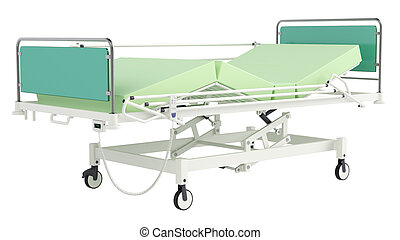 Mobile hospital bed isolated on white background