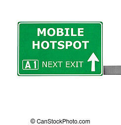 MOBILE HOTSPOT road sign isolated on white
