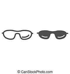 mobile, icône, blanc, concept, solide, toile, vecteur, été, ligne, graphics., accessoires, contour, signe, design., lunettes soleil, fond, lunettes, lunettes, icône, style, concept