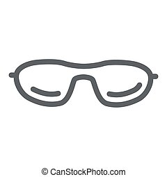 mobile, icône, blanc, concept, toile, vecteur, été, ligne, graphics., accessoires, contour, signe, design., lunettes soleil, fond, lunettes, lunettes, icône, style, concept