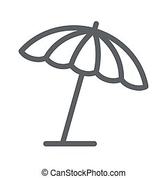 mobile, icône, blanc, concept, toile, vecteur, été, ligne, graphics., parapluie, soleil, parasol, plage, contour, signe, design., fond, style, icône, concept