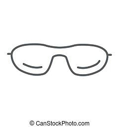 mobile, icône, blanc, concept, toile, vecteur, été, ligne, mince, graphics., accessoires, contour, signe, design., lunettes soleil, fond, lunettes, lunettes, icône, style, concept