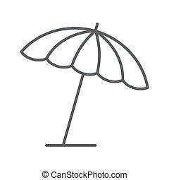 mobile, icône, blanc, concept, toile, vecteur, été, ligne, mince, graphics., parapluie, soleil, parasol, plage, contour, signe, design., fond, style, icône, concept