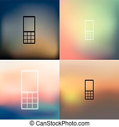 mobile, icône, fond, brouillé