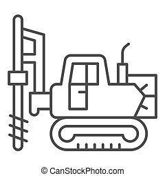 mobile., icône, lourd, concept, graphics., icône, ligne, foret, fond, grand, hydraulique, blanc, équipement, mince, marteau, vecteur, style, contour, signe, excavateur