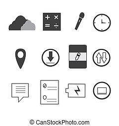mobile, icônes, blanc, fond