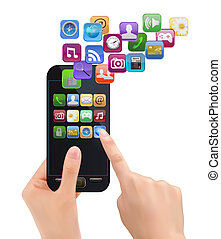 mobile, icons., mano, telefono, vettore, presa a terra