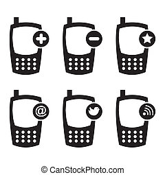 mobile icons over white background vector illustration