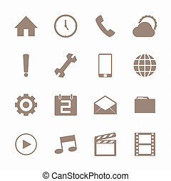 Mobile icons set , Brown color