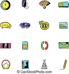 Mobile icons set cartoon - Mobile icons set in cartoon style...