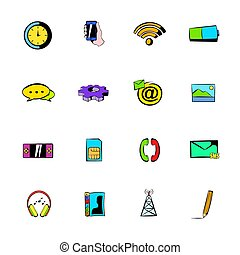 Mobile icons set cartoon