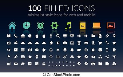 Mobile Icons Set - 100 white and colorful mobile application...