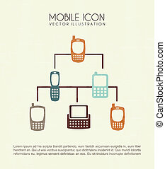 mobile icons over cream background vector illustration