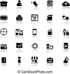 Mobile icons with reflect on white background