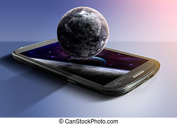 Mobile illustration with violet planet and space on dark blue background. Elements furnished by NASA. 3D rendering