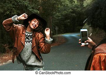 mobile, images, prendre, filles, téléphone