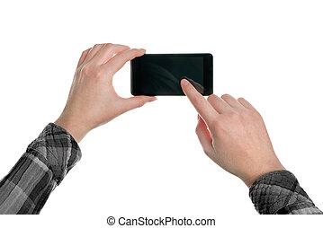 mobile, images, prendre, intelligent, téléphone