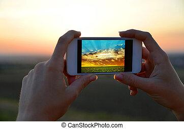 mobile, images, prendre, téléphone., girl, intelligent