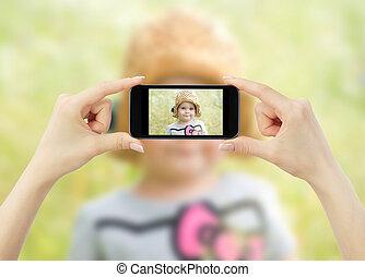mobile, images, prendre, téléphone