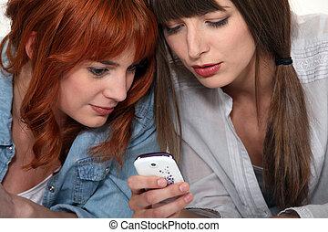 mobile, immagini, dall'aspetto, amici, telefono