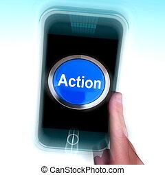 mobile, inspiré, téléphone, activité, action, spectacles