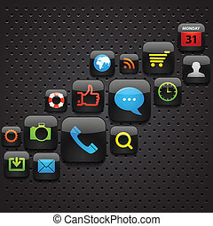 Mobile interface icons abstract background