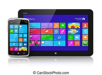 mobile, interface, touchscreen, appareils