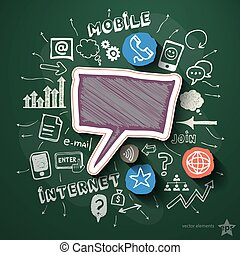 Mobile internet collage with icons on blackboard