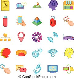 Mobile internet icons set, cartoon style