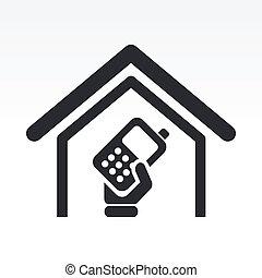 mobile, isolé, illustration, téléphone, unique, vecteur,...