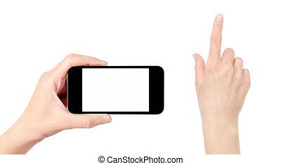 mobile, isolé, main, téléphone, toucher, tenue