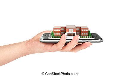 mobile, isolé, main, téléphone, white., tenue, intelligent