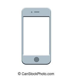 mobile, isolé, téléphone, fond, blanc, smartphone, icône