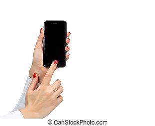 mobile, isolato, mano, telefono, presa a terra, bianco, far male