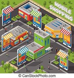 mobile, isométrique, achats