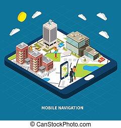 mobile, isometrico, navigazione, illustrazione