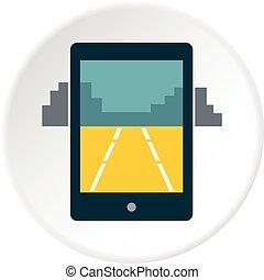 mobile, jeu, cercle, icône